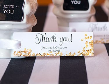 rectangular favor tags two sided print