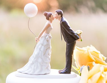 Romantic Bride & Groom Cake Toppers