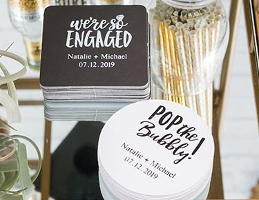 Personalized wedding favors wedding gifts for guests the knot shop personalized coasters junglespirit Gallery