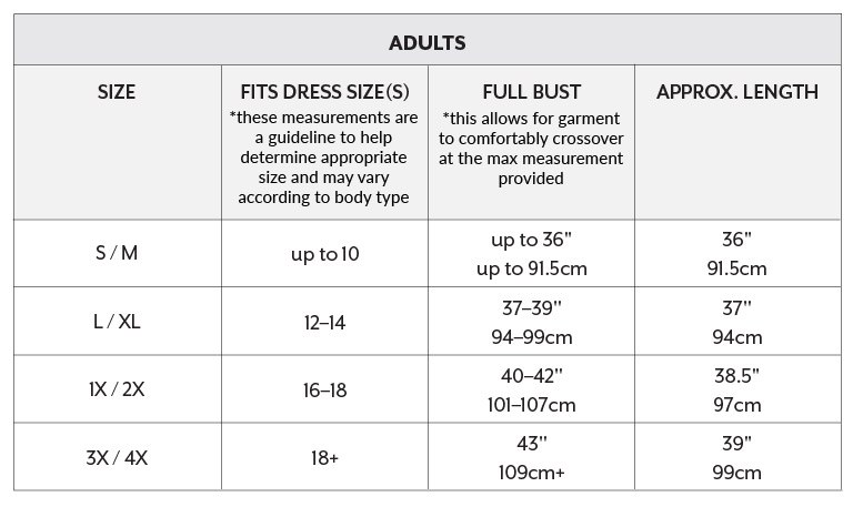 North American Sizing Chart