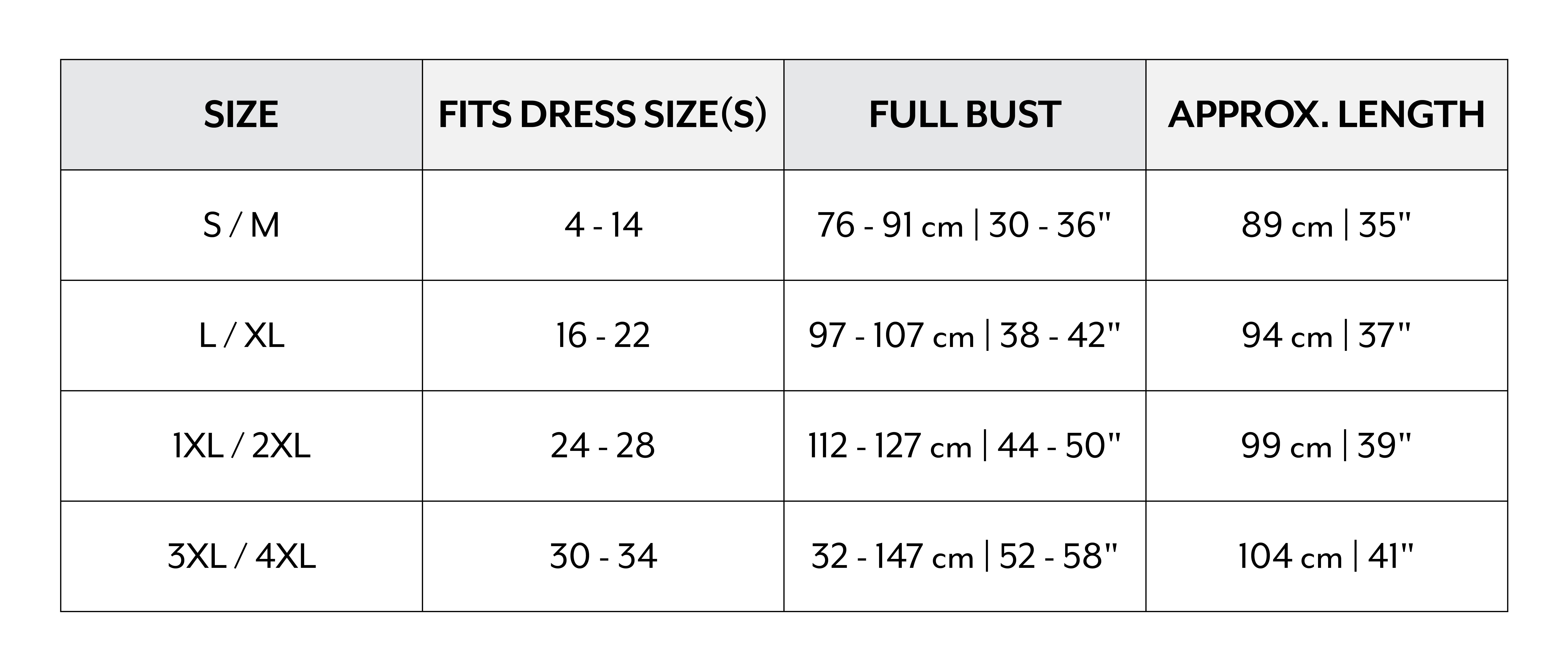 UK Sizing Chart
