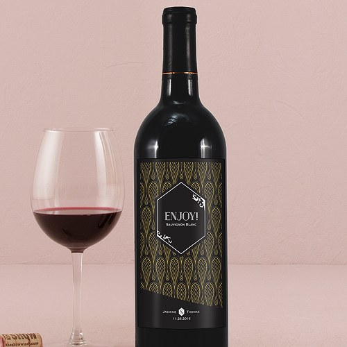 Black and Gold Opulence Wine Label