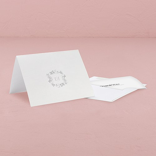Monogram Simplicity Thank You Card With Fold   Botanical Wreath
