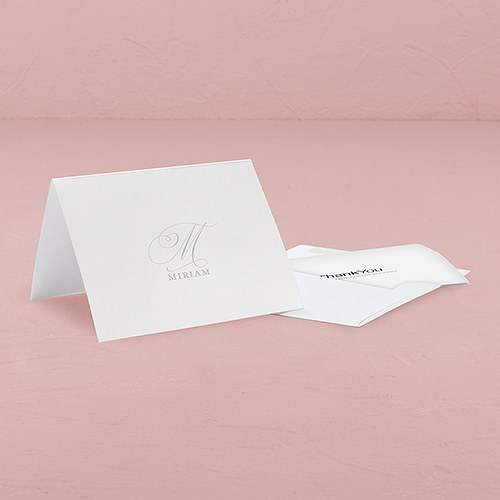 Monogram Simplicity Thank You Card With Fold   Elegant