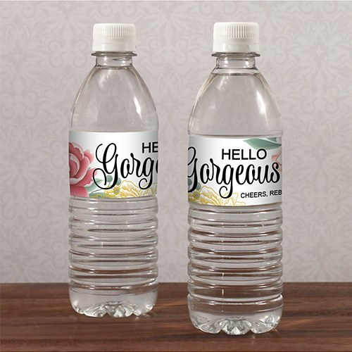 Modern Floral Water Bottle Label