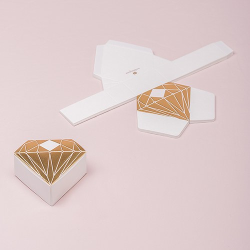 Large Gold Favor Boxes : Diamond favor box with metallic gold the knot