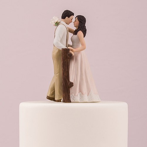 rustic couple porcelain figurine wedding cake topper