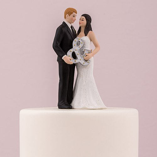 Mr. & Mrs. Porcelain Figurine Wedding Cake Toper With Ampersand