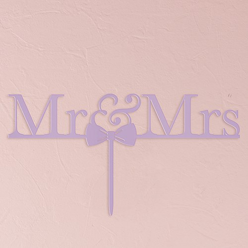 Mr & Mrs Bow Tie Acrylic Cake Topper   Lavender