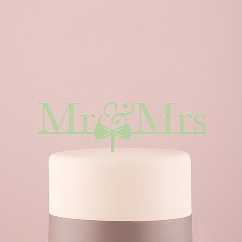 Mr & Mrs Bow Tie Acrylic Cake Topper   Daiquiri Green