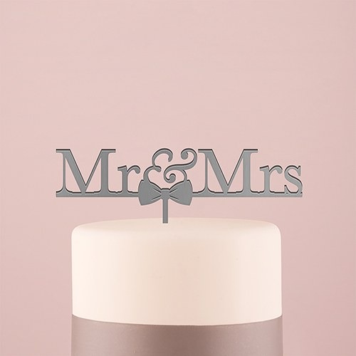 Mr & Mrs Bow Tie Acrylic Cake Topper   Metallic Silver