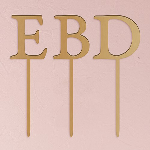 Acrylic Single Initial Cake Topper   Metallic Gold