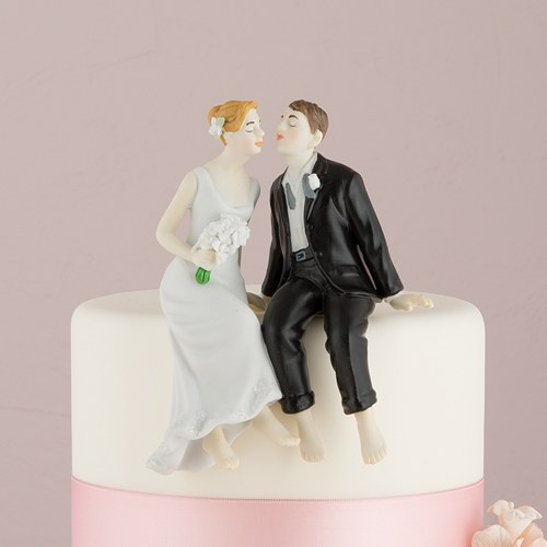 Whimsical Sitting Bride And Groom Wedding Cake Topper