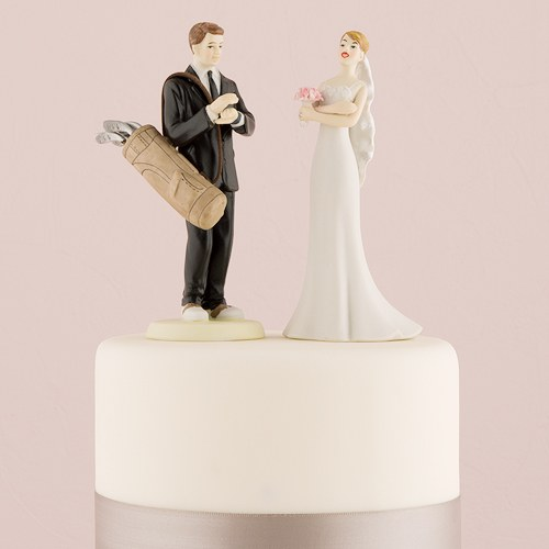 golfing groom wedding cake topper