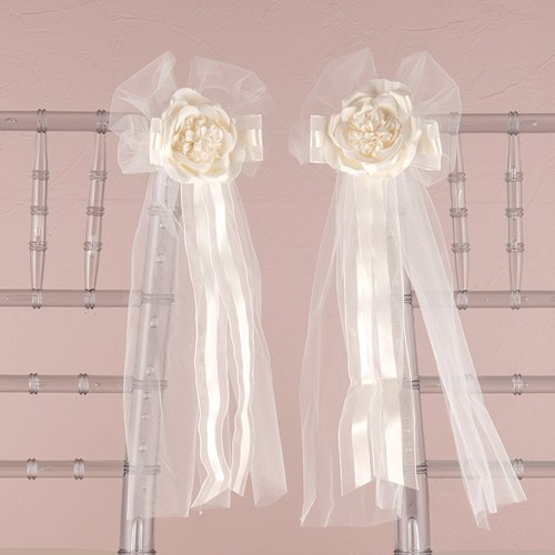 Pre Made Tulle Ribbon Bows With Silk Rose The Knot Shop