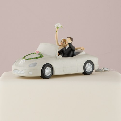 Honeymoon Bound Couple in Car Bride and Groom Cake Topper