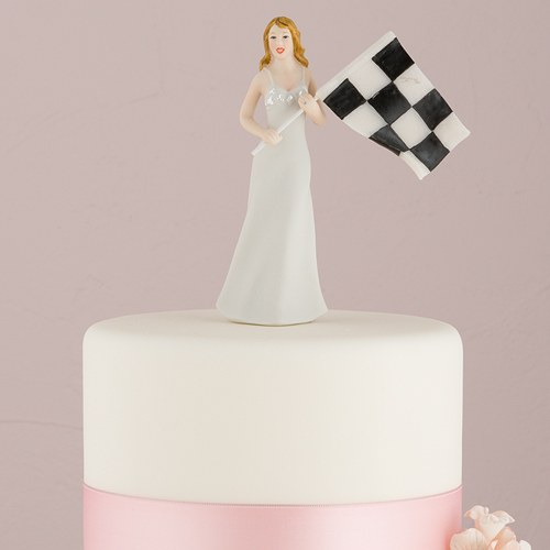 Bride at Finish Line with Victorious Groom Wedding Cake topper