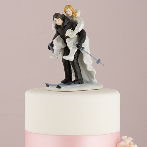 Skiing wedding cake topper the knot shop winter skiing porcelain wedding cake topper junglespirit Gallery