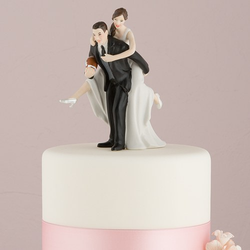 Brunette Bride And Groom Cake Toppers