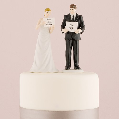 read my sign bride and groom figurines