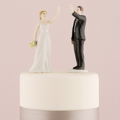 wedding cake toppers high five high five and groom figurines weddingstar 26493