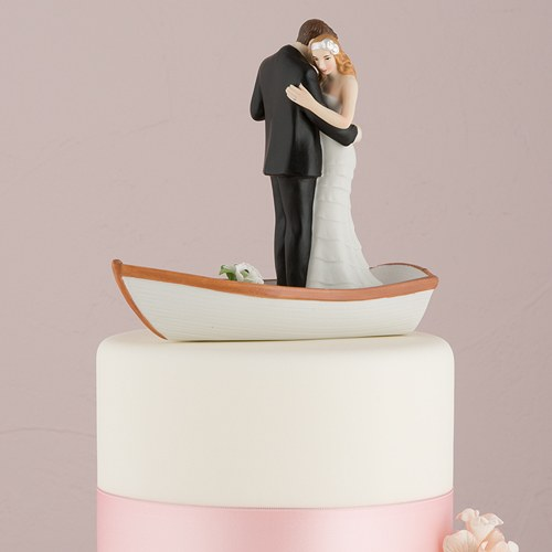 Romantic Rowing Boat Bride And Groom Cake Topper The