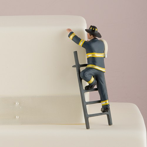 To the Rescue Fireman Wedding Cake Topper - The Knot Shop