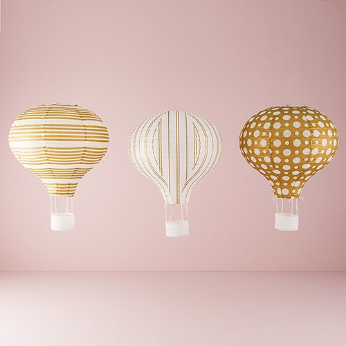 Hot air balloon paper lantern set in gold and white the