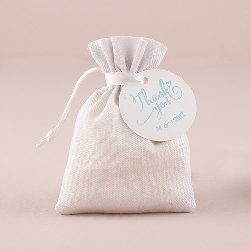 Wedding Gift Bag Cards : ... , bags & containers / favor bags / White Linen Drawstring Favor Bag