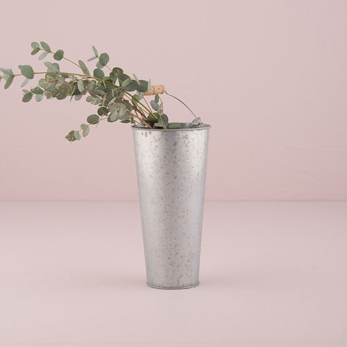 Galvanized flower market bucket with handle small the
