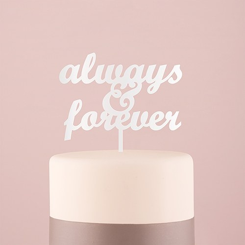 Always & Forever Acrylic Cake Topper   White
