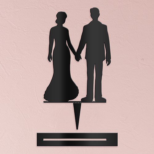 Hands Silhouette  Acrylic Cake Topper   Black