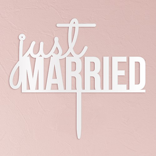 Just Married Acrylic Cake Topper   White