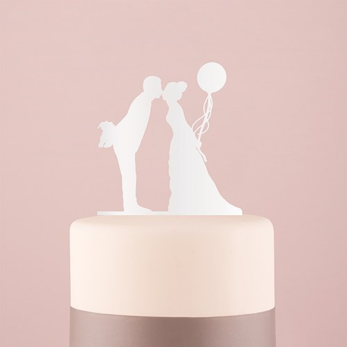 Leaning in Silhouette Acrylic Cake Topper   White