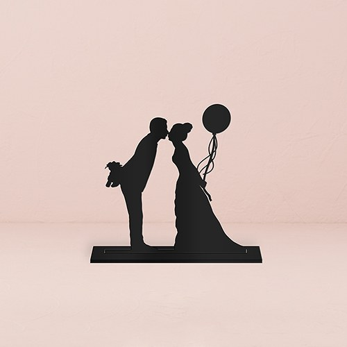 Leaning in Silhouette Acrylic Cake Topper   Black