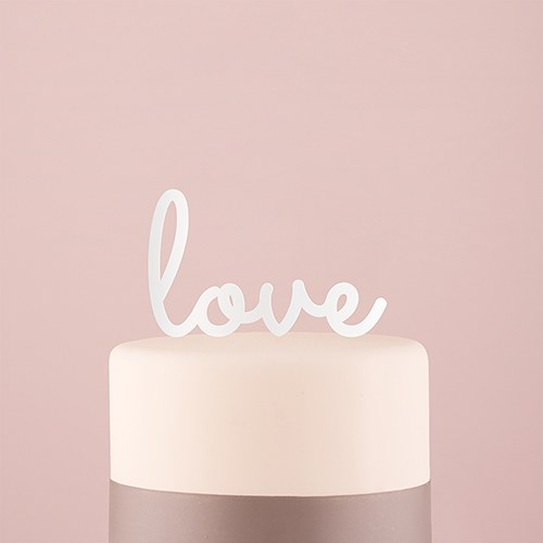 Love Acrylic Cake Topper   White