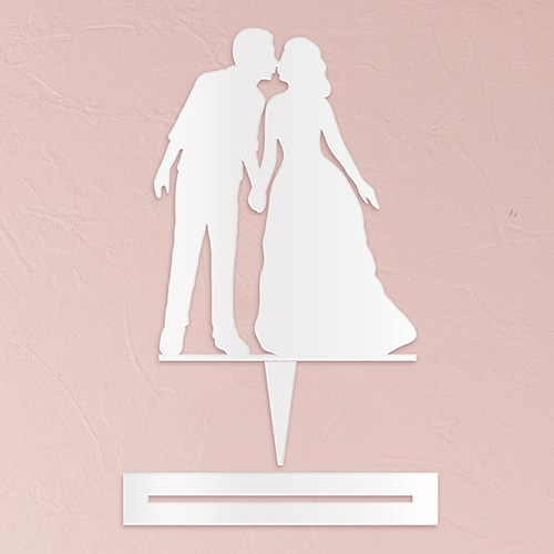 With a Kiss Silhouette  Acrylic Cake Topper   White