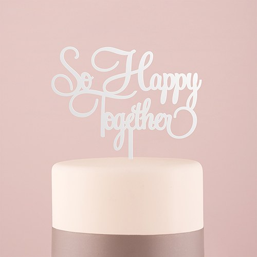 So Happy Acrylic Cake Topper   White