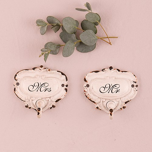 shabby chic hook set with mr and mrs inscription the knot shop. Black Bedroom Furniture Sets. Home Design Ideas