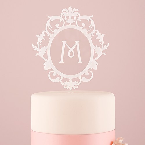 classic floating monogram white acrylic cake topper the knot shop
