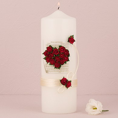 Flower of Love In Romantic Red Candles  Lighting Taper Candles