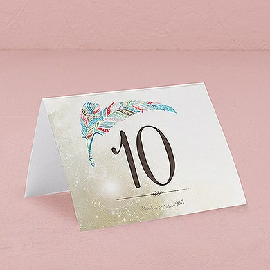 Feather Whimsy Folded Table Numbers