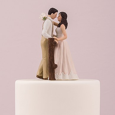Rustic Couple Porcelain Figurine Wedding Cake Topper The