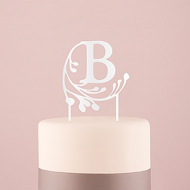 Modern Fairy Tale Monogram Acrylic Cake Topper  White  Letter A