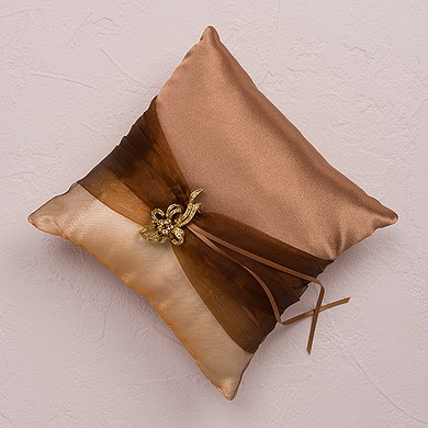 Bronze Elegance Square Ring Pillow The Knot Shop