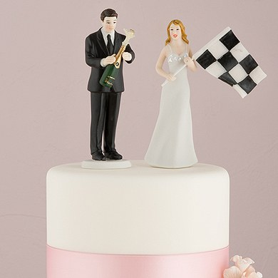 Victorious Finish Line Bride And Groom Cake Topper
