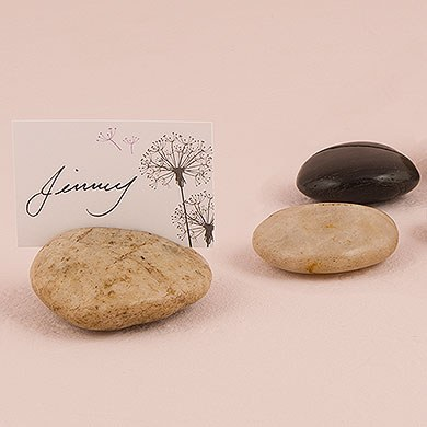 Natural Rocks with Card Etch Place Card Holder