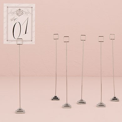 Silver Table Number Holder with Tiered Base