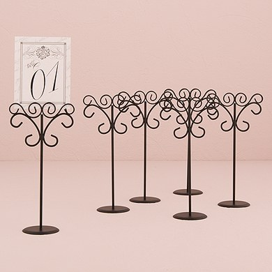 Ornamental Wire Table Number Holders Tall  Black