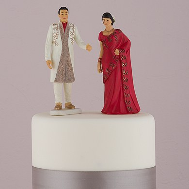 Traditional Indian Bride and Groom Figurine Cake Toppers  Indian Groom in Traditional Attire